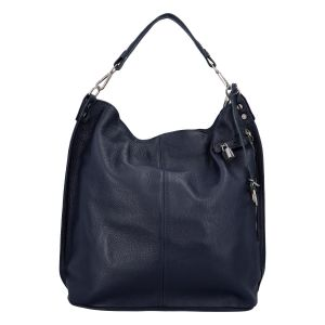 Velká kožená dámská kabelka tmavě modrá – ItalY Celinda Mat tmavě modrá