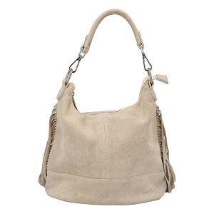 Dámská kožená kabelka přes rameno béžová – ItalY Nidden béžová