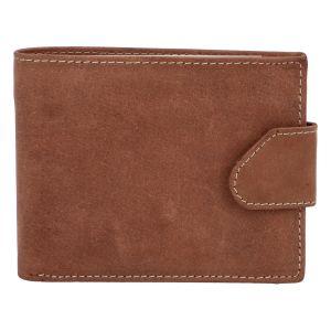 Broušená pánská hnědá kožená peněženka – Tomas 76VT hnědá