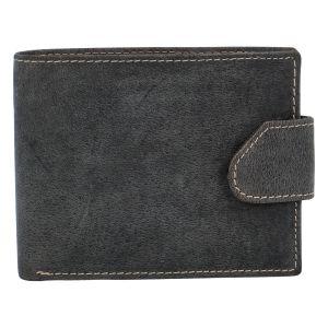 Broušená pánská černá kožená peněženka – Tomas 76VT černá