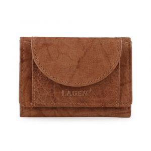 Lagen Dámská kožená mini peněženka W-2030 – koňaková