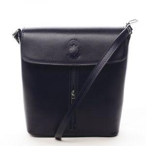 Dámská kožená crossbody kabelka tmavě modrá – ItalY Marketa tmavě modrá