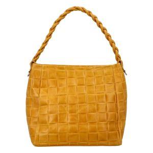 Dámská kožená kabelka Delami Chiara – žlutá