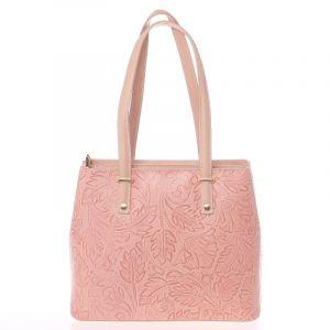 Exkluzivní dámská kožená kabelka růžová – ItalY Logistilla růžová