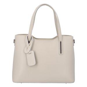 Větší kožená kabelka krémově šedá – ItalY Sandy šedá