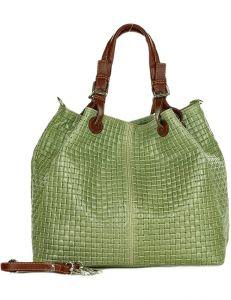 Kožená světle zelená kabelka mazzini vel. ONE SIZE 148697-551544
