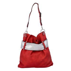 Luxusní dámská kabelka červeno stříbrná – Paolo Bags Manue červená