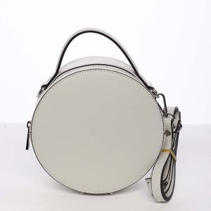 Malá šedě béžová elegantní dámská kožená kabelka – ItalY Husna béžová