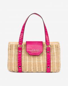 Guess ratanová kabelka Paloma s růžovými detaily