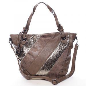 Dámská elegantní kabelka tmavě hnědá se vzorem – Maria C Eirene hnědá