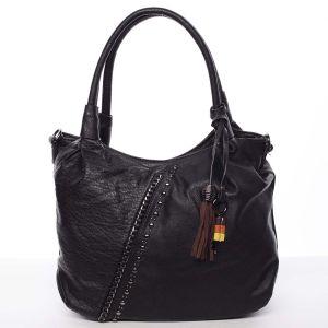 Módní měkká dámská kabelka do ruky černá – MARIA C Estelle černá