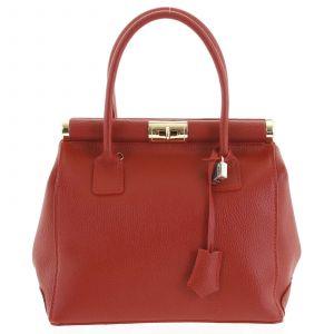 Luxusní dámská kožená kabelka do ruky červená – ItalY Hyla červená