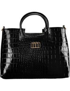 černá lakovaná kabelka s imitací krokodýlí kůže monnari vel. ONE SIZE 150835-561188