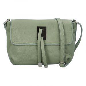 Dámská kožená crossbody kabelka bledě zelená – ItalY Porta zelená