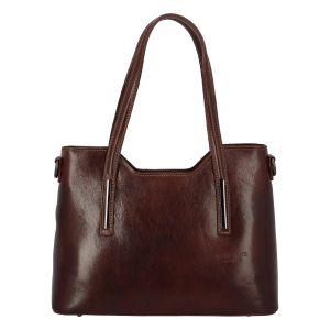 Střední kožená kabelka tmavě hnědá – ItalY Chevell EX hnědá