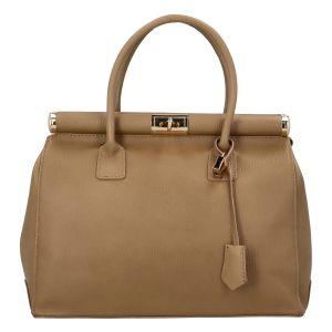 Módní originální dámská kožená kabelka do ruky tmavě béžová – ItalY Hila béžová