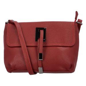 Dámská kožená crossbody kabelka tmavě červená – ItalY Porta červená