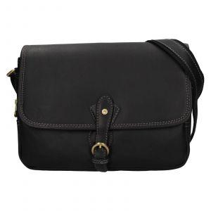 Kožená dámská crosbody kabelka Katana Greasy – černá