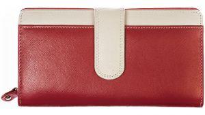 SEGALI Dámská kožená peněženka 668 N saffiano red/beige