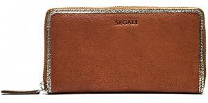 SEGALI Dámská kožená peněženka 612 06 9086 cognac/gold
