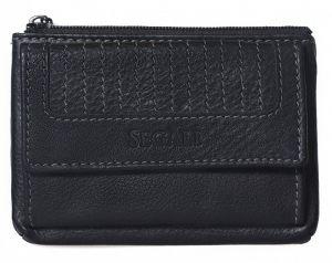 SEGALI Kožená mini peněženka-klíčenka 434 665 450 Black
