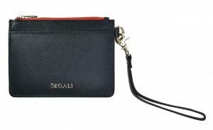 SEGALI Kožená mini peněženka-klíčenka 7290 A Black