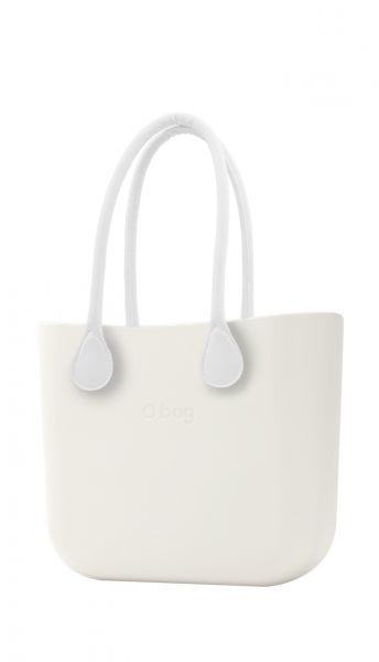 O bag kabelka Ivory s bílými dlouhými koženkovými držadly