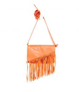 Oranžová koženková crossbody kabelka s třásněmi CAMAIEU
