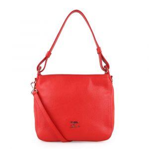 Elega by Dana M Dámská kožená kabelka přes rameno Casual 69534 – červená/stříbro