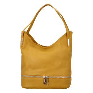 Dámská kožená měkká kabelka přes rameno žlutá – ItalY Nellis žlutá