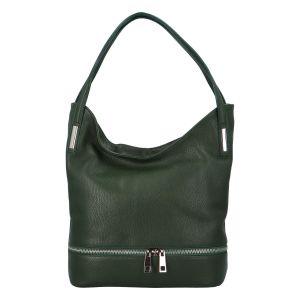 Dámská kožená měkká kabelka přes rameno tmavě zelená – ItalY Nellis zelená