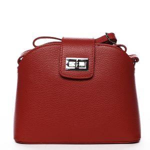 Dámská kožená crossbody kabelka tmavě červená – ItalY Brokylon červená