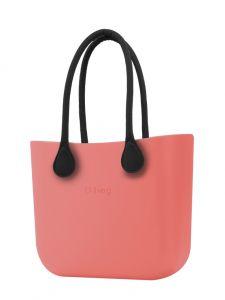 O bag MINI kabelka Corallo s černými dlouhými koženkovými držadly