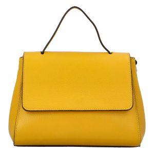 Dámská kožená kabelka do ruky žlutá – ItalY Fatismy žlutá
