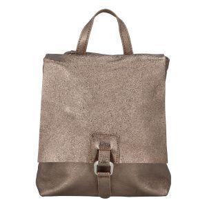 Dámský kožený batůžek kabelka bronzový – ItalY Francesco zlatá