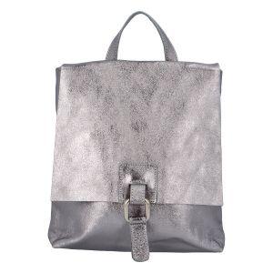 Dámský kožený batůžek kabelka stříbrný – ItalY Francesco stříbrná