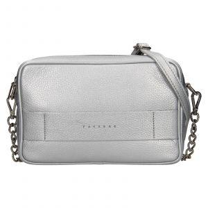 Trendy dámská kožená crossbody kabelka Facebag Ninals – stříbrná