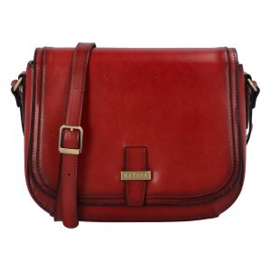 Dámská kožená crossbody kabelka tmavě červená – Katana Loisei červená
