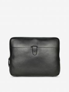 Černý kožený obal na notebook KARA