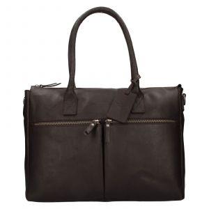 Dámská kožená kabelka Burkely Lenta – tmavě hnědá