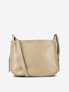 Béžová dámská kožená crossbody kabelka KARA