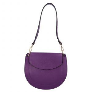 Dámská crossbody kožená kabelka Delami Levia – fialová