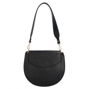 Dámská crossbody kožená kabelka Delami Levia – černá