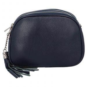 Dámská crossbody kožená kabelka Delami Beate – tmavě modrá