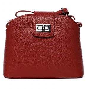 Dámská crossbody kožená kabelka Delami Lisse – tmavo červená