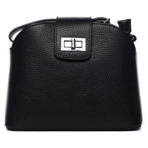 Dámská crossbody kožená kabelka Delami Lisse – černá