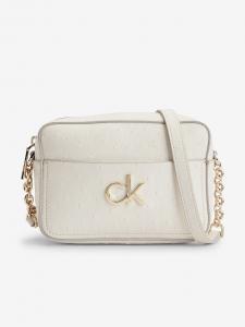 Krémová dámská vzorovaná crossbody kabelka Calvin Klein Re-Lock Camera Bag Ostrich