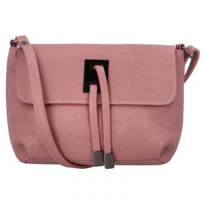 Dámská crossbody kožená kabelka Delami Salina – růžová